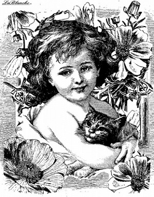 LaBlanche Stamp - Child with Cat